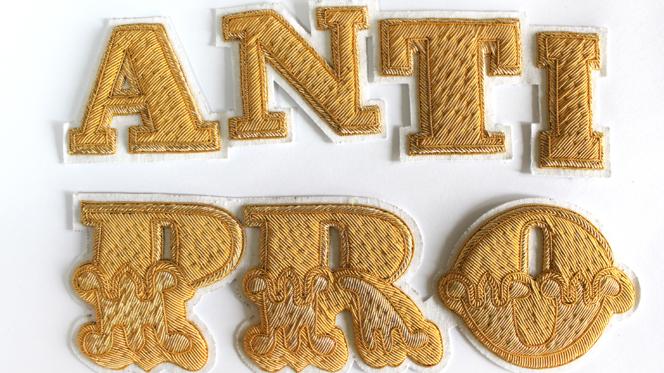 Goldwork embroideries for SIBLING