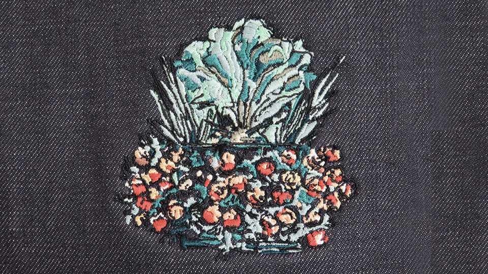 Bespoke machine embroidery fruit basket
