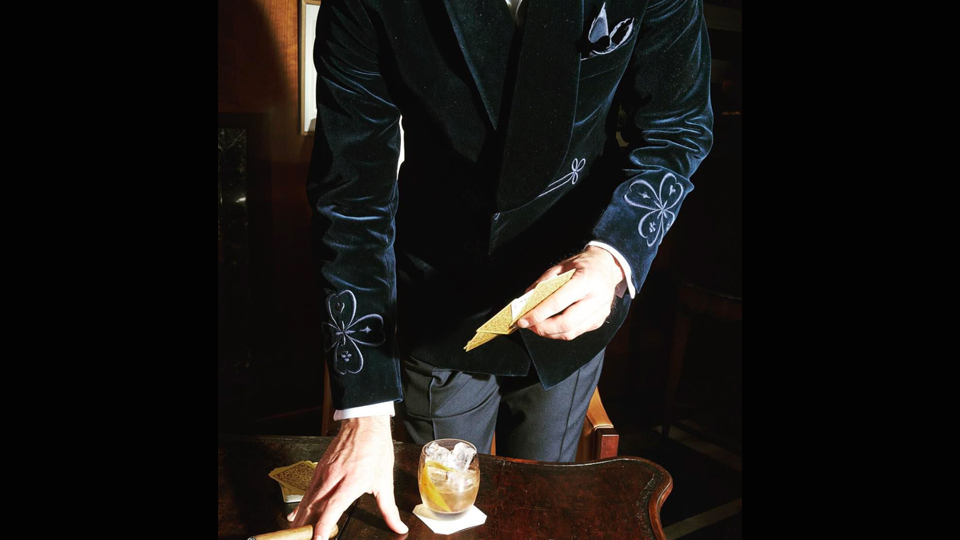 Bespoke smoking jacket anderson sheppard bespoke frogging embroidery