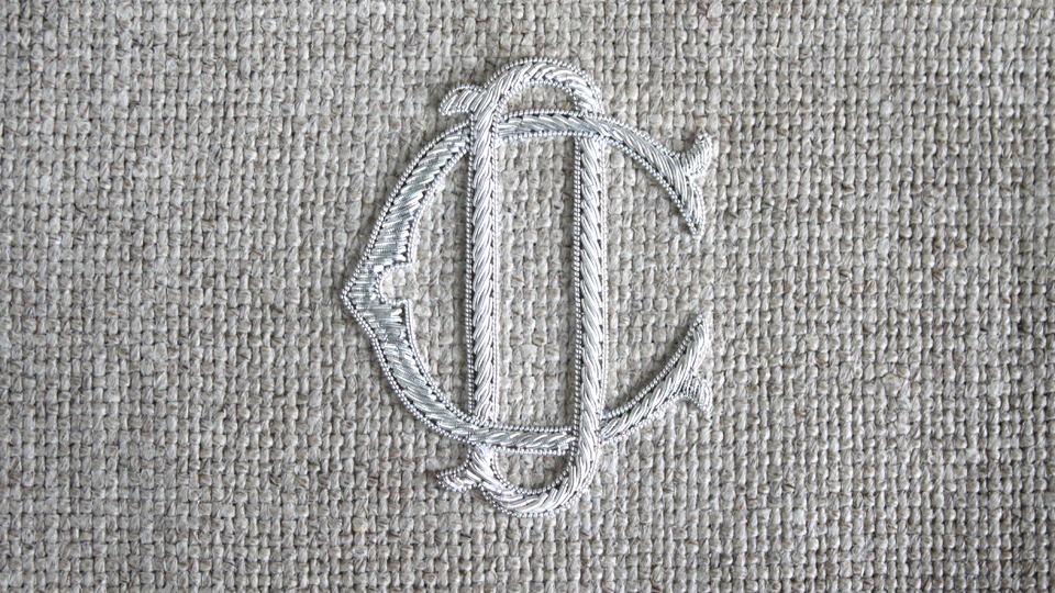 CD silver monogram embroidery