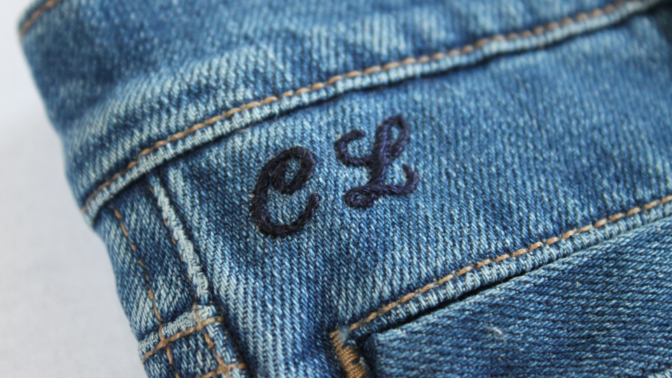 CL mongrammed MIH jeans
