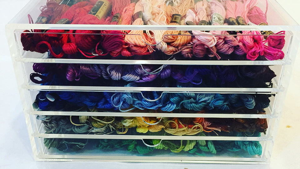 Coloured embroidery silks