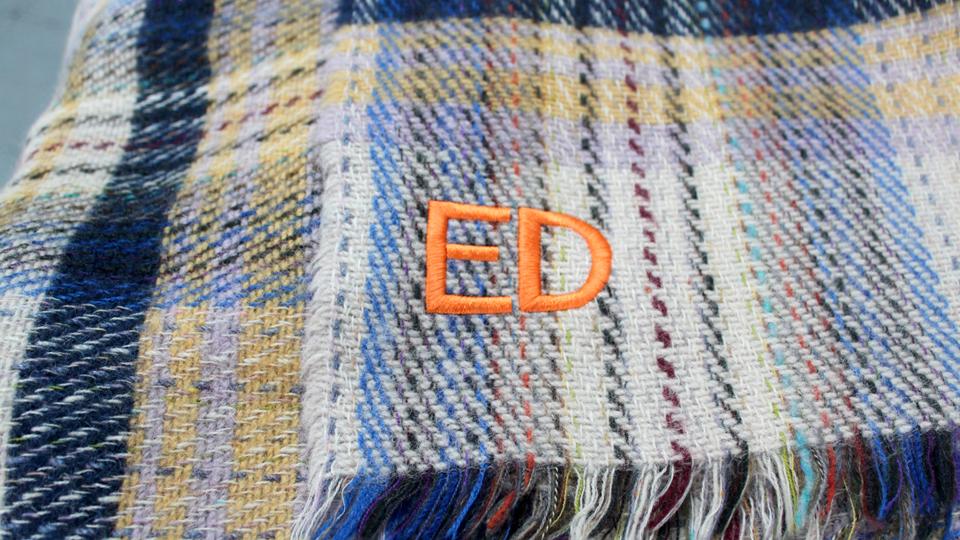 ED blanket monogram block font