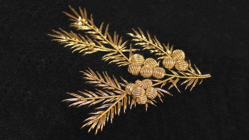 Floral gold work