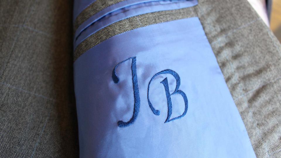 Monogrammed jacket lining
