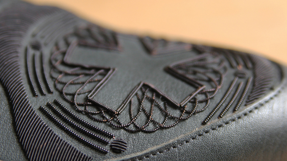 Black bullion embroidery for Sebastien Tarek