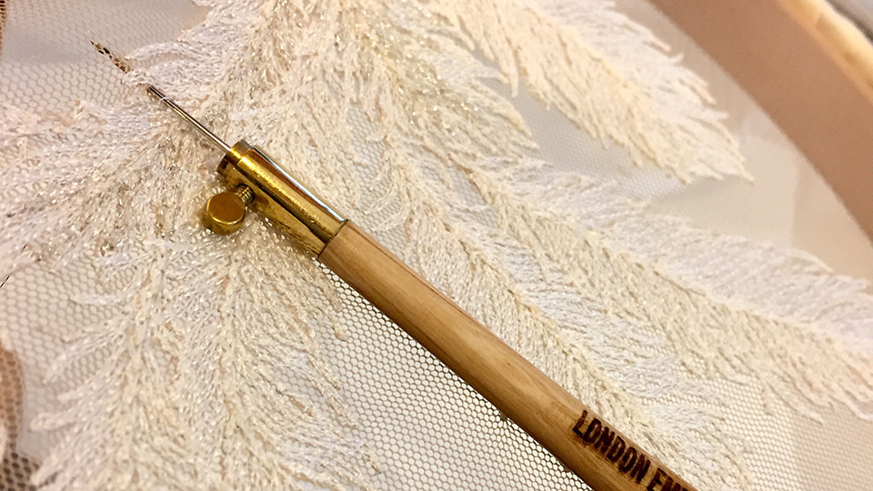 Tambour embroidery bespoke wedding