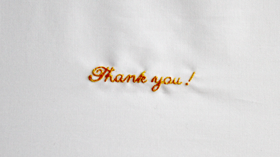 Thankyou embroidery monogram