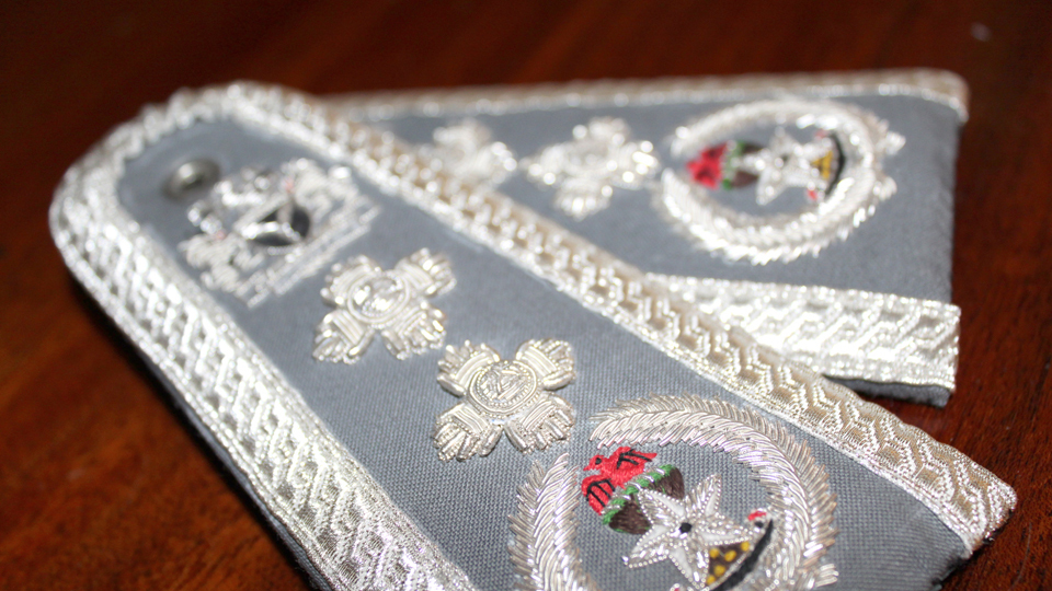 silver embroidered epaulettes
