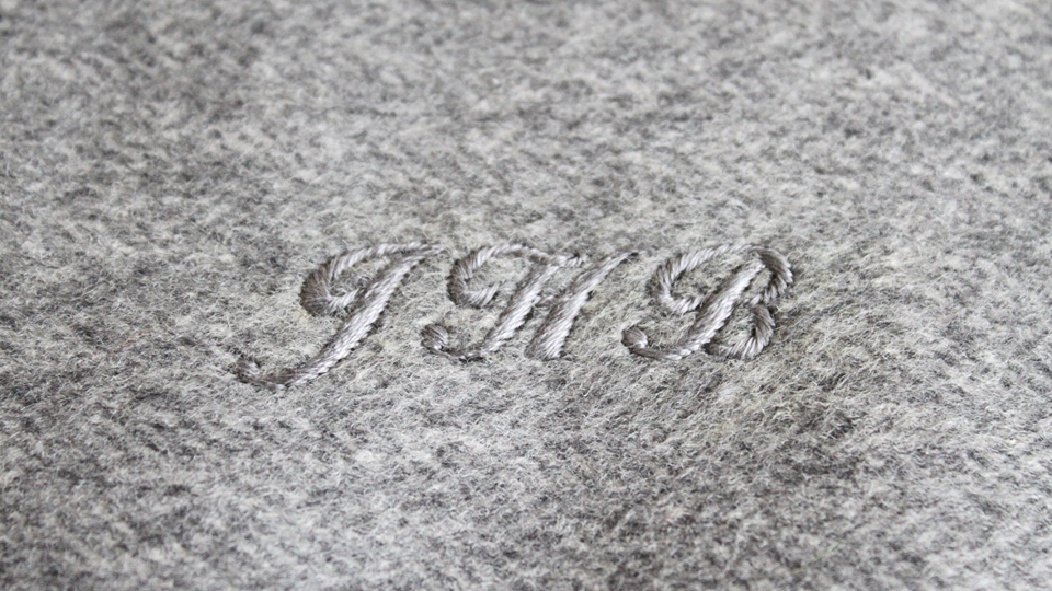 Tonal silk monogram onto cashmere slipper
