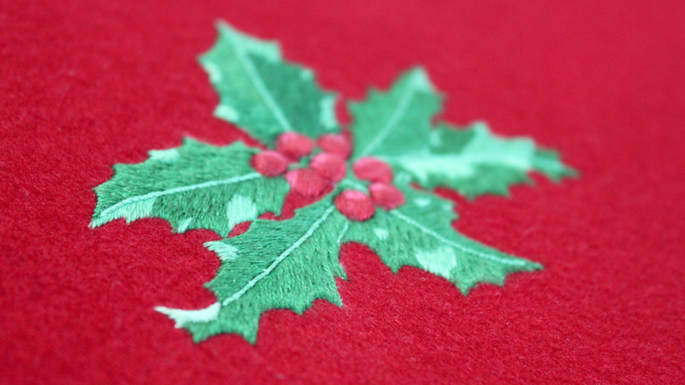 bespoke holly embroidery silkwork