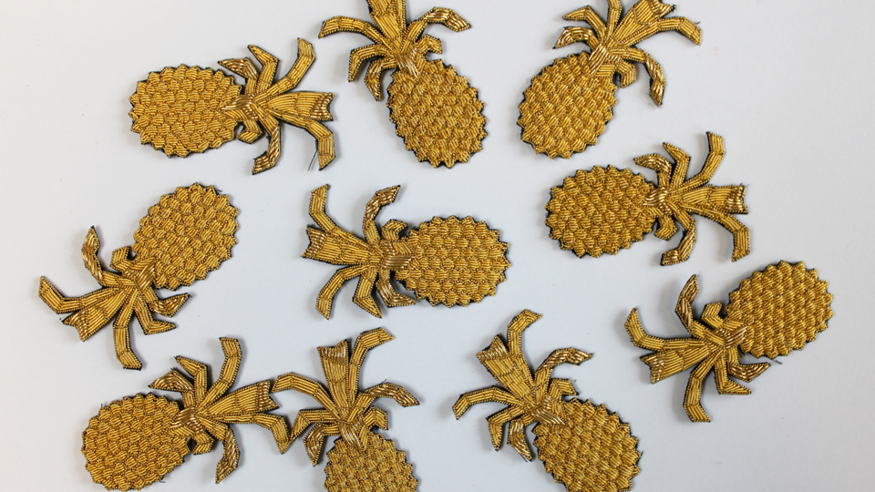 bespoke pineapple embroidery
