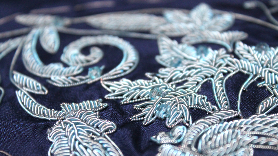 Blue bullion embroidery for Hasan Hejazi
