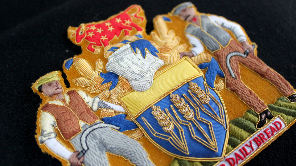 crest embroidery ceremonial coat of arms