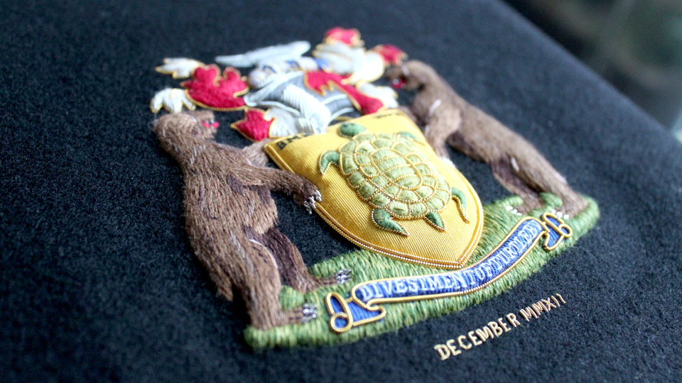 crest embroidery ceremonial