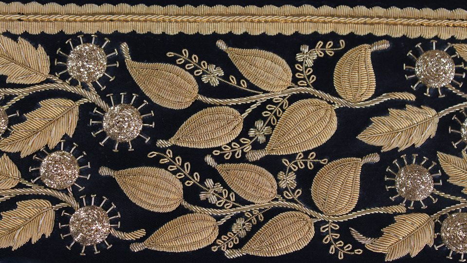 custom cuff embroidery goldwork
