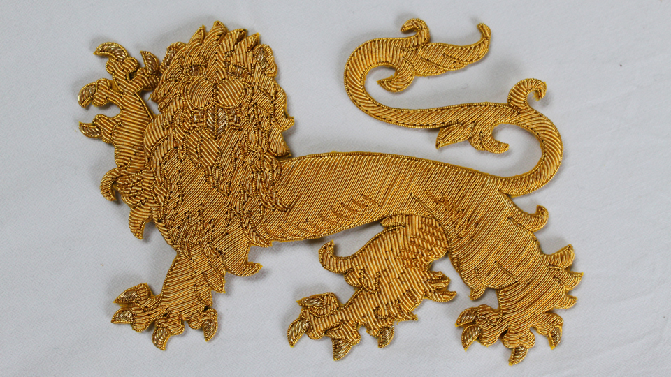 custom lion goldwork embroidery fashion