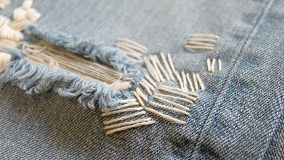 distressed denim embroidery fashion