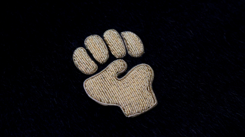 fist embroidery monogram