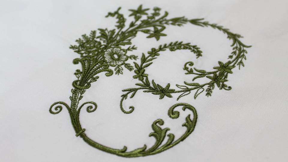 floral font C monogram