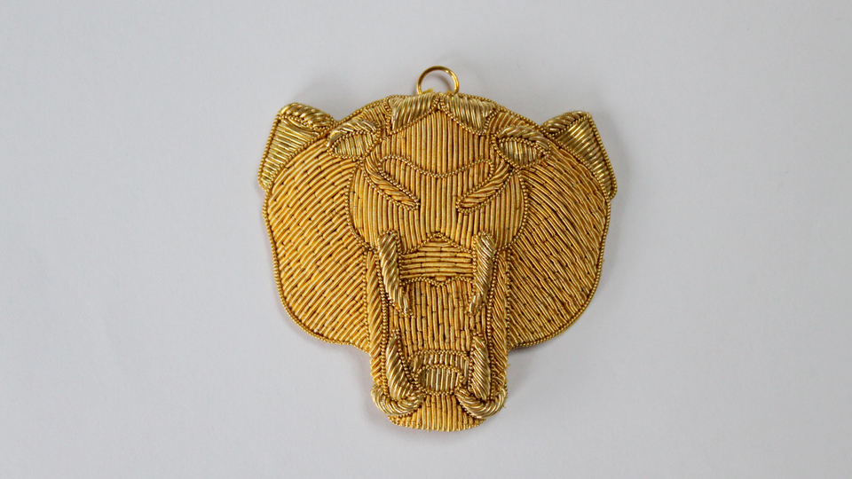 gold panther embroidery fashion