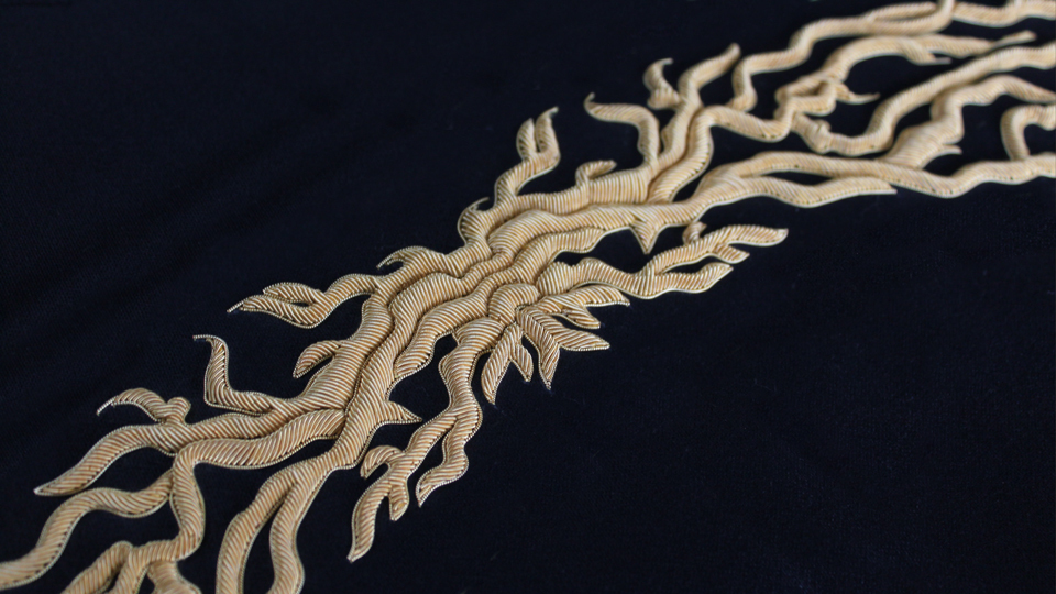 gold work embroidery collar joshua kane