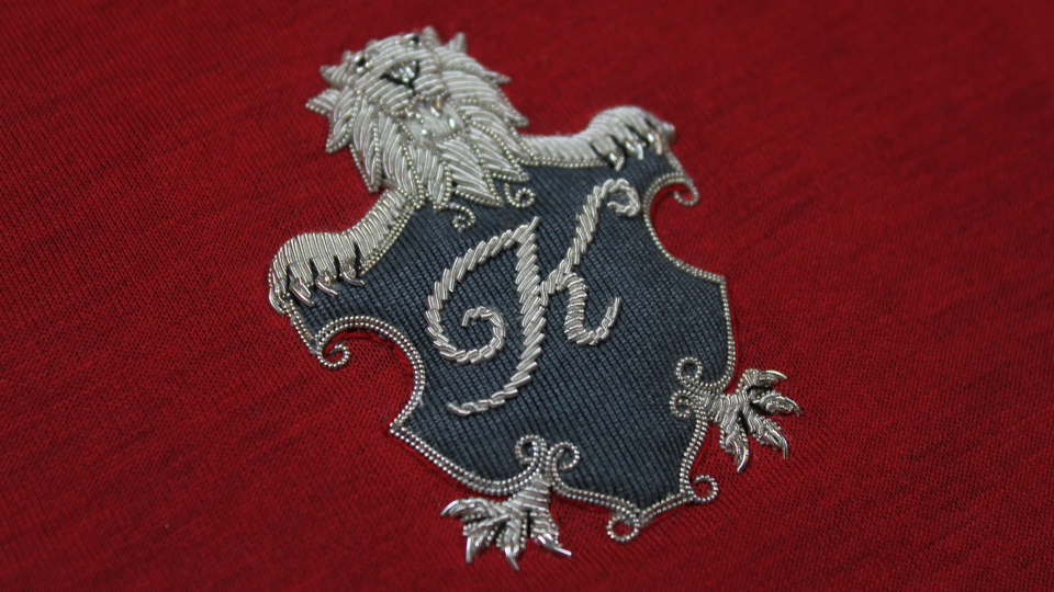 lion patch onto jersey