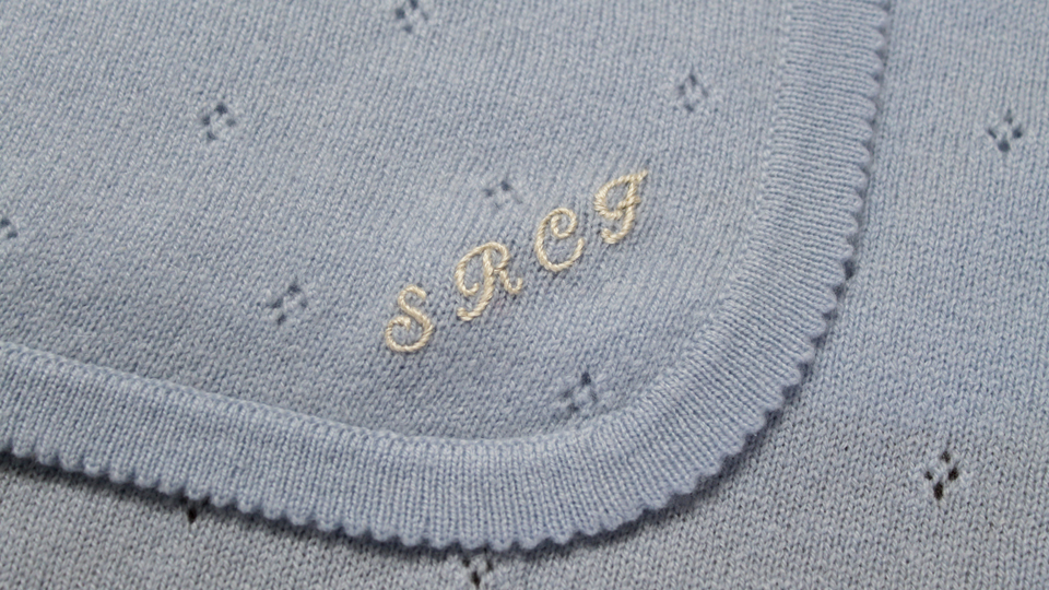 monogram onto cashmere blanket