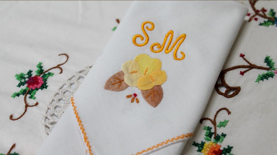 monogrammed napkin floral