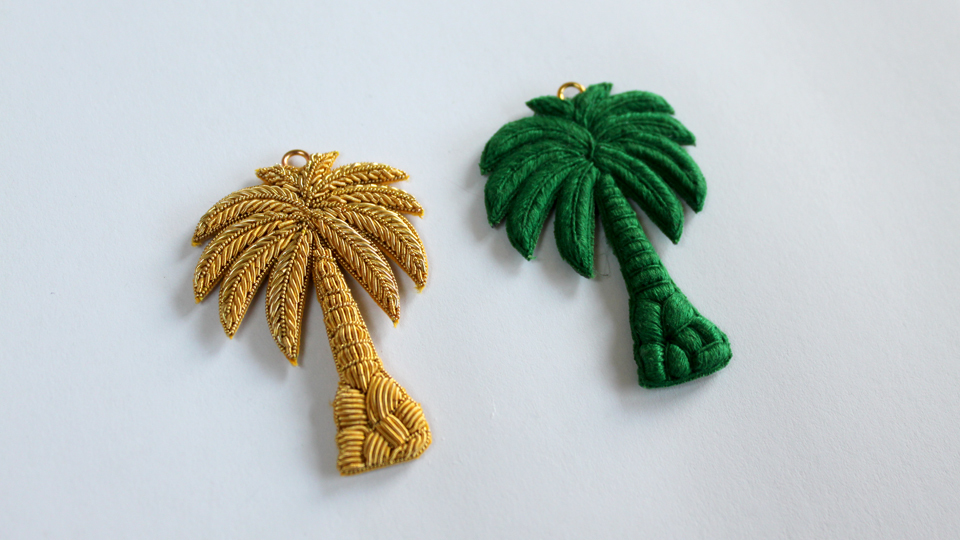 palmtree embroidery jewelery fashion