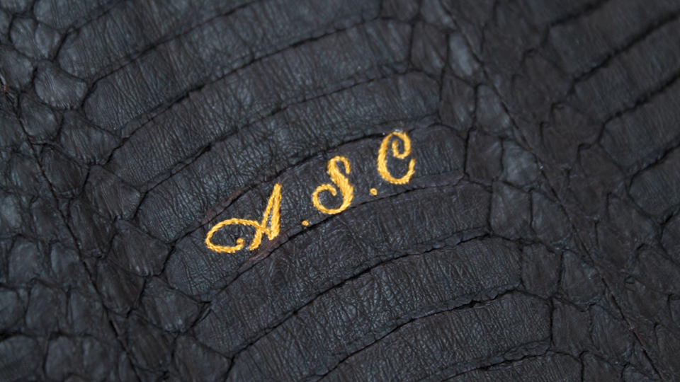 silk monogram onto python