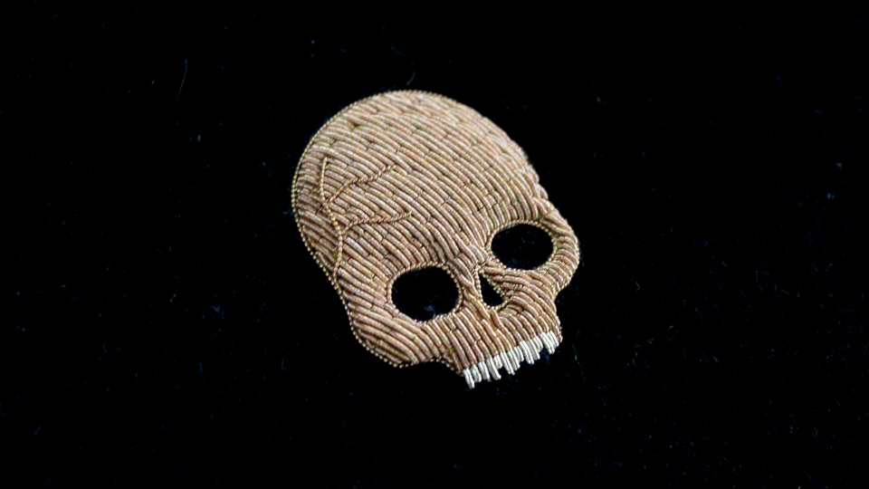 skull monogram embroidery