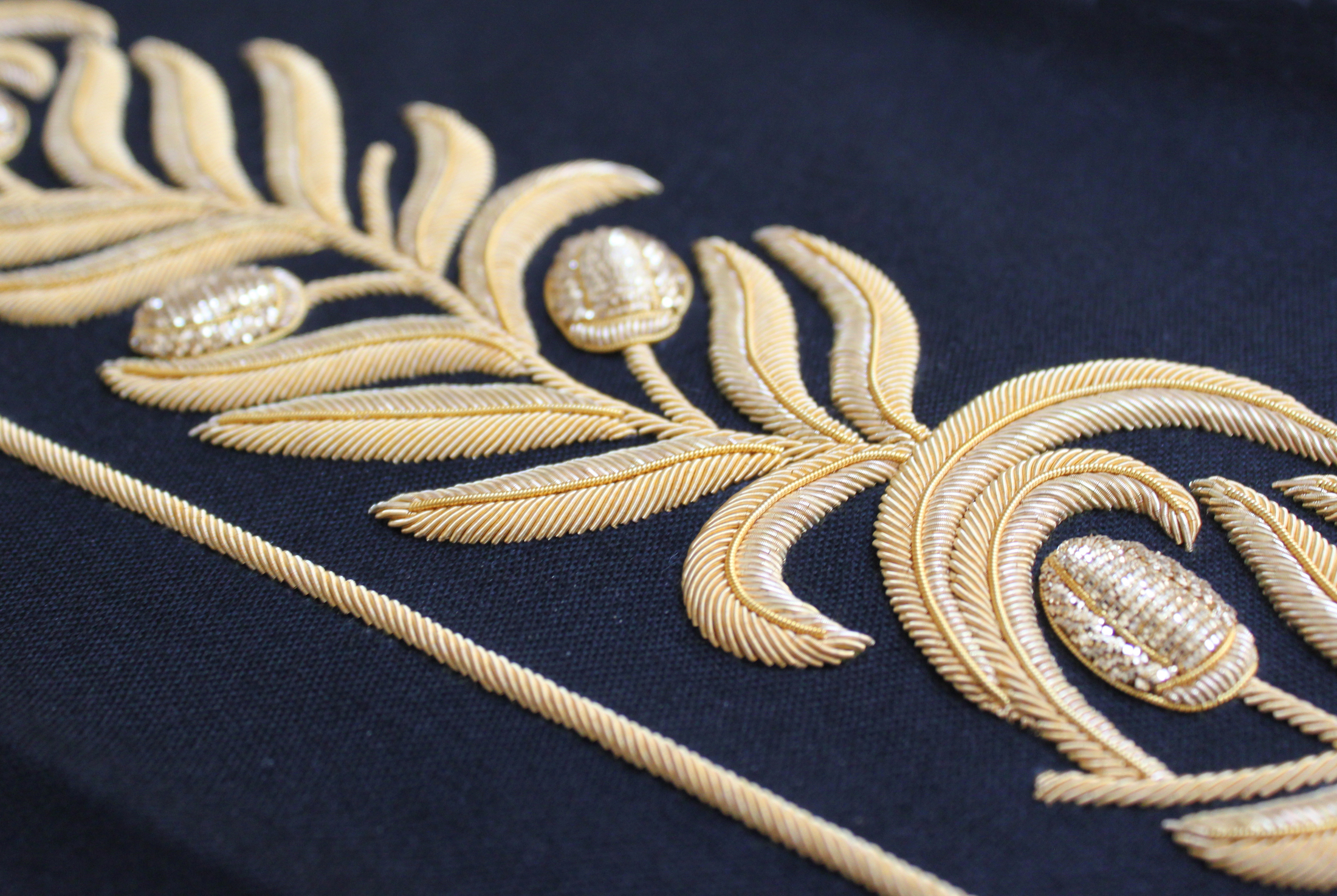 gold work military hand embroidered cuff