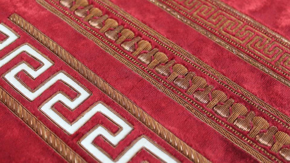 geometric embroidered curtain edge