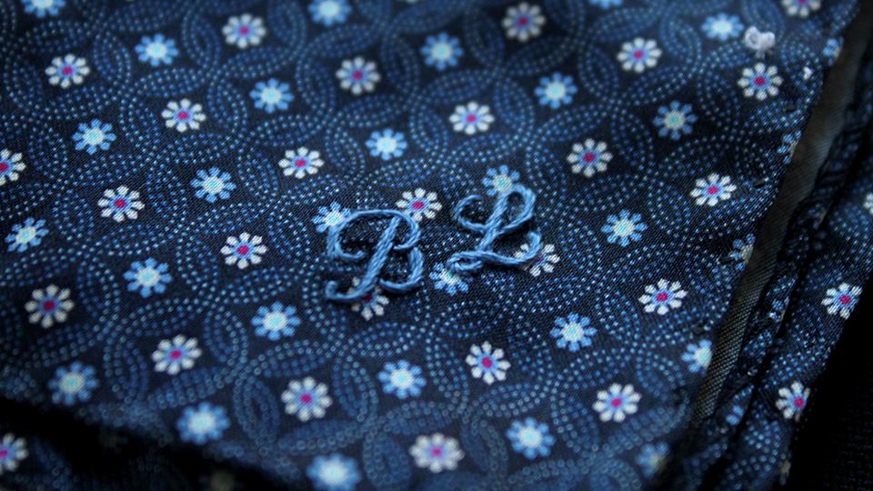 BL monogram onto patterned hankie