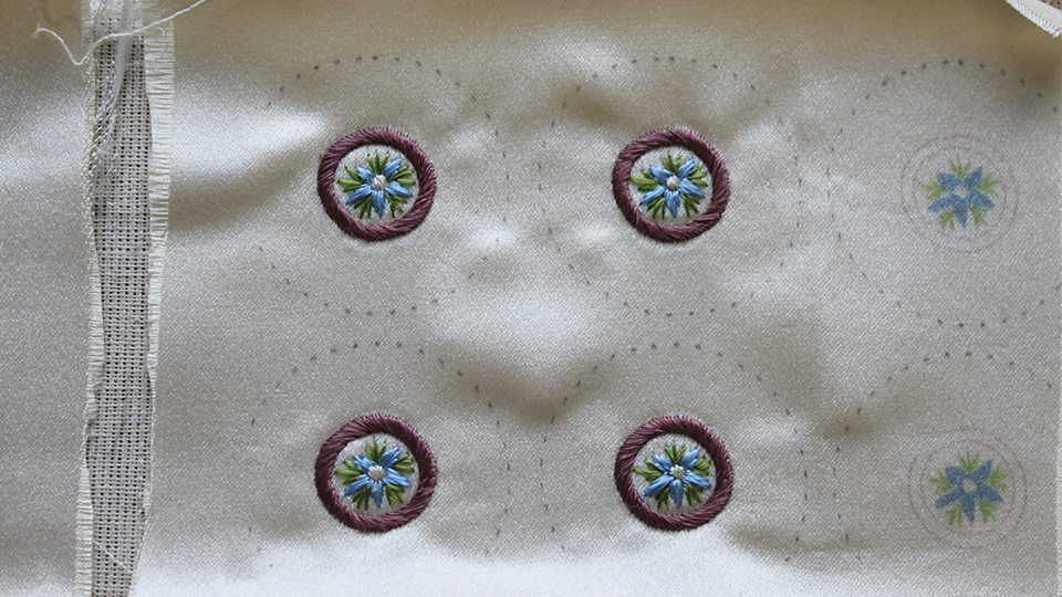Silkwork button embroidery