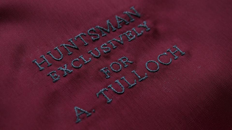 bespoke embroidered lining for h-huntsman
