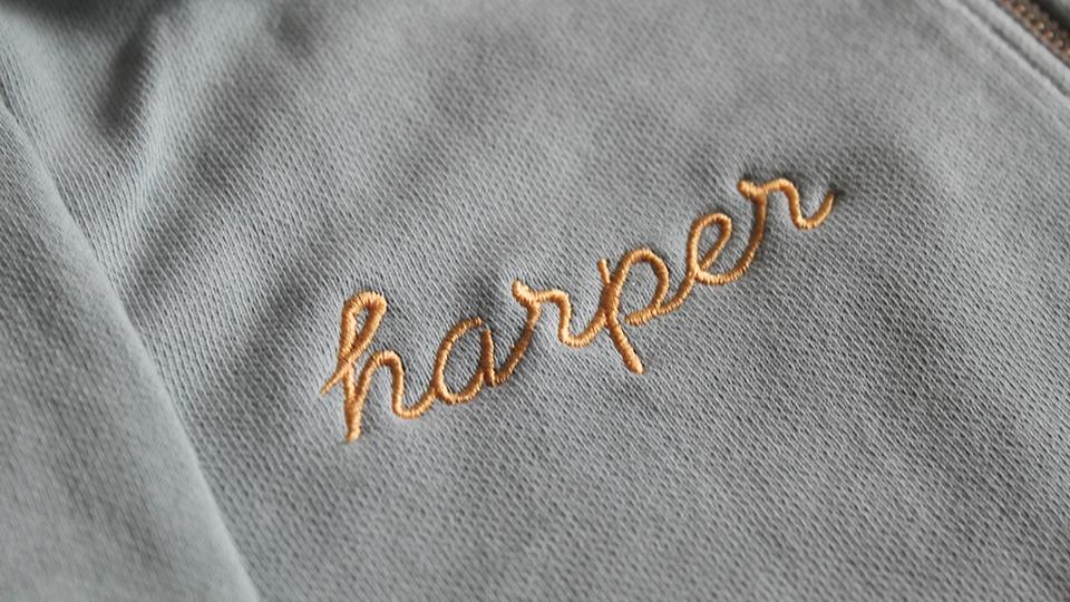 bespoke embroidered sweat shirt