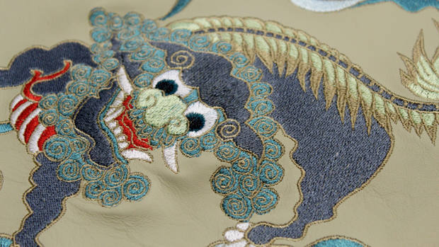 machine embroidered dragons