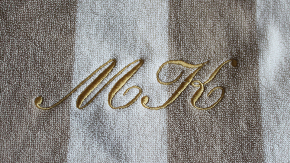 Bespoke embroidered towel monogram