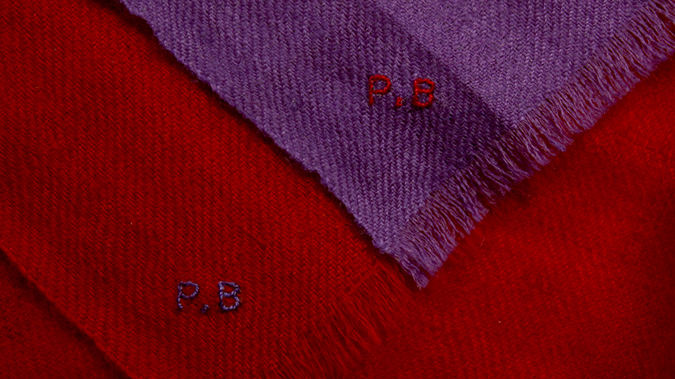 Monogram onto thin scarf