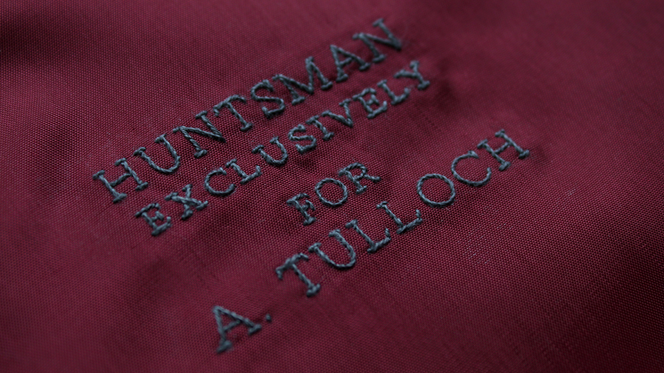 bespoke embroidered lining for h-huntsman