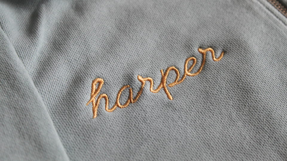 bespoke embroidered sweat shirt