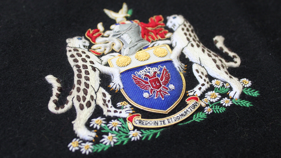bespoke heraldic crest design and embroidery