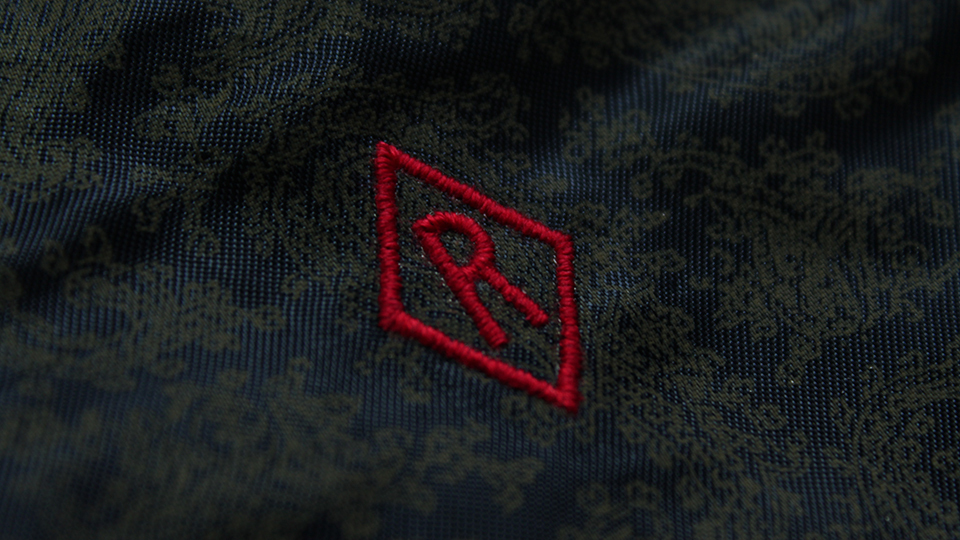 diamond embroidered lining