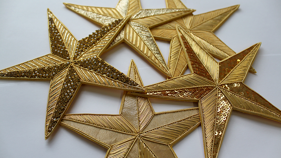 goldwork star embroidery