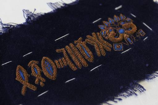 Hawthorne & Heaney works on Script Inspired Goldwork Collar London Hand Embroidery