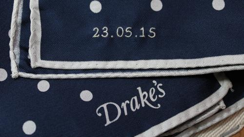 Bespoke embroidered drakes hankerchief