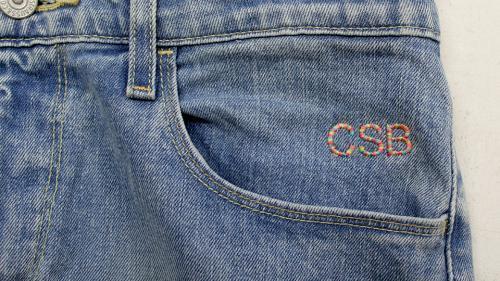 monogrammed jeans